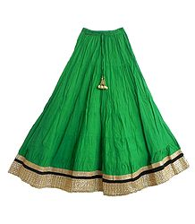 Green Cotton Skirt with Zari Border