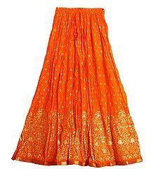 Print on Saffron Crushed Cotton Long Skirt