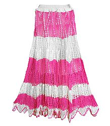 White with Pink Crocheted Long Skirt