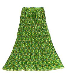 Multicolor Print on Green Crushed Long Skirt