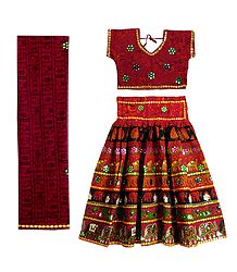 Multicolor Embroidery on Red Cotton Lehenga Choli with Dupatta