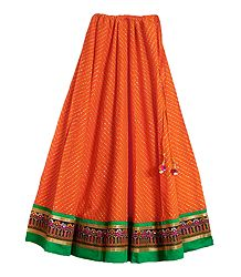 Saffron Cotton Skirt with Embroidered Border