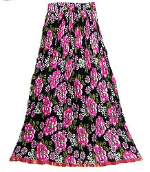 Black Crushed Cotton Skirt with Dark Pink and Green Floral Block Print