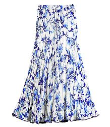 Buy Online Floral Print on White Georgette Long Skirt