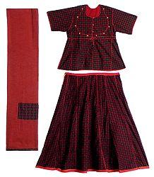 Red Print on Black Cotton Lehenga Choli
