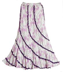 White Long Gypsy Skirt with Dark Purple Floral Print