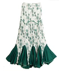 White Long Gypsy Skirt with Green Floral Print