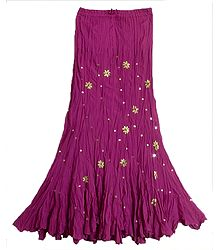 Dark Magenta Long Gypsy Skirt with Sequin Work