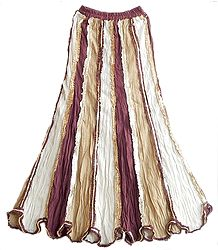 White,Beige and Maroon Cotton Long Skirt with Sequin Work