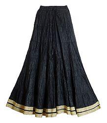 Buy Black Wrinkled Cotton Skirt with Zari Border