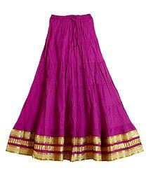 Magenta Crushed Cotton Skirt with Zari Border