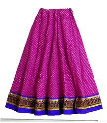 Magenta Cotton Skirt with Embroidered Border