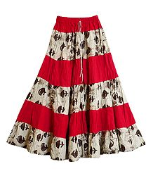 Buy Printed  and Red Cotton Skirt