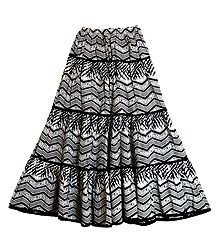 Black and White Cotton Skirt
