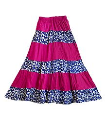 Printed with Pink Cotton Long Skirt