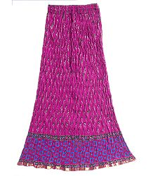 Dark Magenta Crushed Cotton Skirt with Blue and Black Block Print