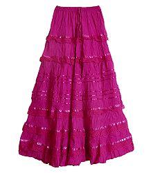 Magenta Cotton Long Skirt - Shop Online