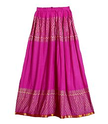 Print on Magenta Cotton Long Skirt