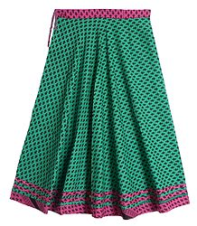 Black Print on Cyan Green Cotton Long Skirt with Magenta Border