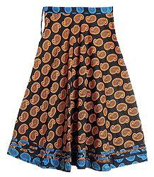 Paisley Print on Black Cotton Long Skirt