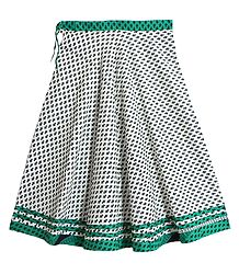 Black Print on White Cotton Long Skirt with Cyan Border