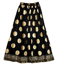Black Cotton Skirt with Golden Block Print