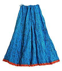 Black Worli Print on Blue Cotton Crushed Long Skirt