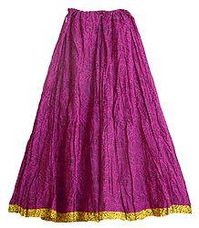 Magenta Cotton Crushed Long Skirt