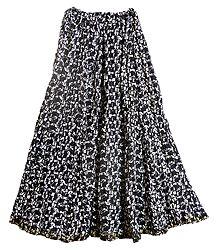 Black Cotton Crushed Long Skirt