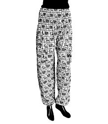 Black Folk Art Print on White Cotton Harem Pants