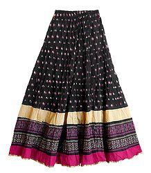 Buy Printed Black Wrinkled Cotton Skirt