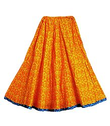 Tribal Print on Saffron Cotton Long Skirt