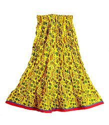 Print on Yellow Cotton Long Skirt