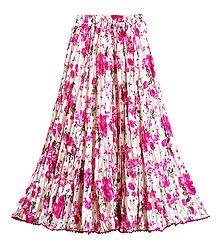 Magenta Print on Satin Long Skirt - Buy Online