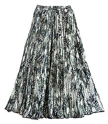 Black Print on Satin Long Skirt - Buy Online