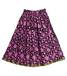 Black Cotton Skirt with Dark Pink Block Print