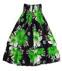 Black Cotton Skirt with Dark Green and White Floral Print