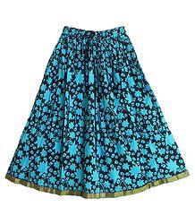 Black Cotton Skirt with Dark Cyan Block Print