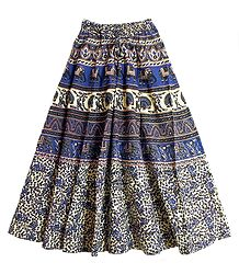 Blue, Grey, Black with Off-White Sanganeri Print Long Skirt with Elephants and Peacocks