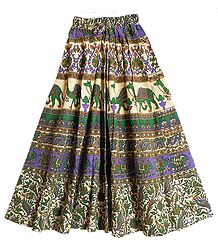 Green, Brown, Mauve with Off-White Sanganeri Print Long Skirt with Elephants and Camels
