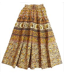 Yellow, Brown, Black with Off-White Long Skirt with Elephants and Peacocks