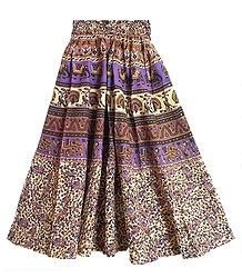 Mauve, Black, brown and Beige Long Skirt with Printed Elephants and Peacocks