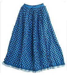 Blue Cotton Long Skirt  with Black Polka Print