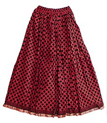 Red Cotton Long Skirt  with Black Polka Print