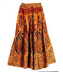 Buy Online Paisley Print on Yellow Cotton Skirt