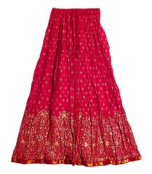 Print on Red Crushed Cotton Long Skirt