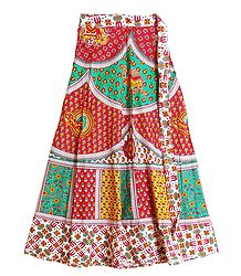 Colorful Sanganeri Print on Wrap Around Skirt