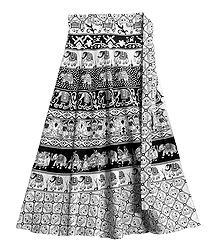 Black and White Sanganeri Print on Wrap Around Skirt