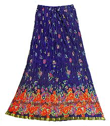Purple Crushed Cotton Skirt with Red,Saffron and Green Block Print