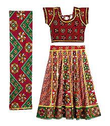 Embroidered Cotton Lehenga Choli with Dupatta